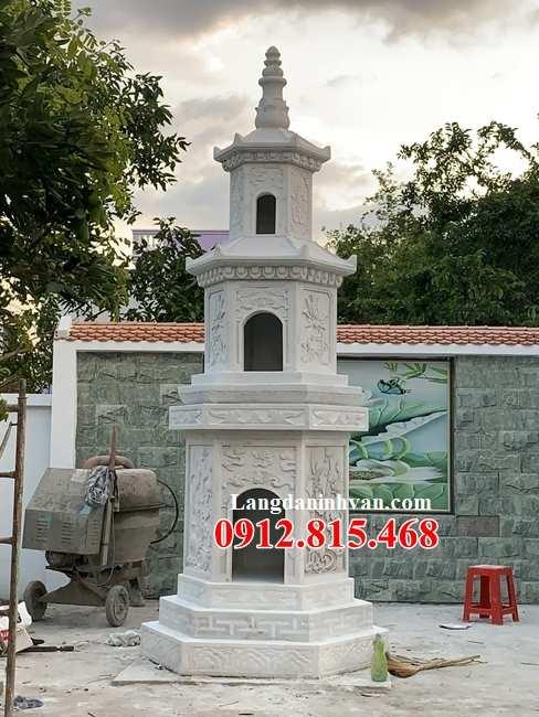 Mẫu mộ tháp phật giáo để hũ tro cốt đá trắng đẹp bán tại Sài Gòn